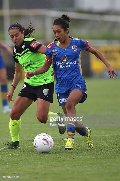 Caprice Dydasco of the Jets contests the ball with Veronica Perez of Canberra during the round five W-League match between the Newcastle Jets and...