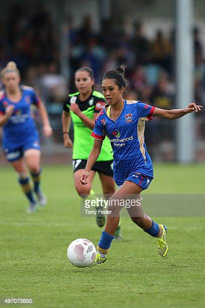 Caprice Dydasco of the Jets controls the ball during the round five W-League match between the Newcastle Jets and Canberra United at Magic Park on...
