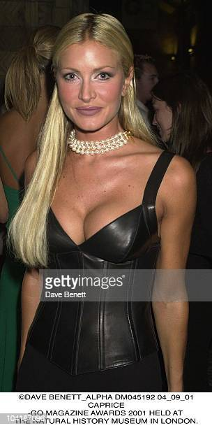 Caprice Gq Magazine Awards 2001 Held At The Natural History Museum In London