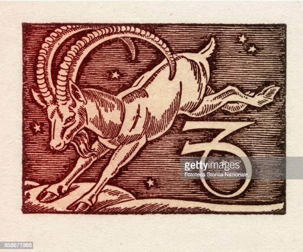 Capricorn is the tenth sign of the zodiac of western astrology cardinal and of earth from 22 December to 20 January Colored version of woodcut of...