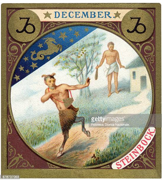 little picture dedicated to December from a series illustrated with zodiac signs and scenes from classical mythology Chromos Germany 1897