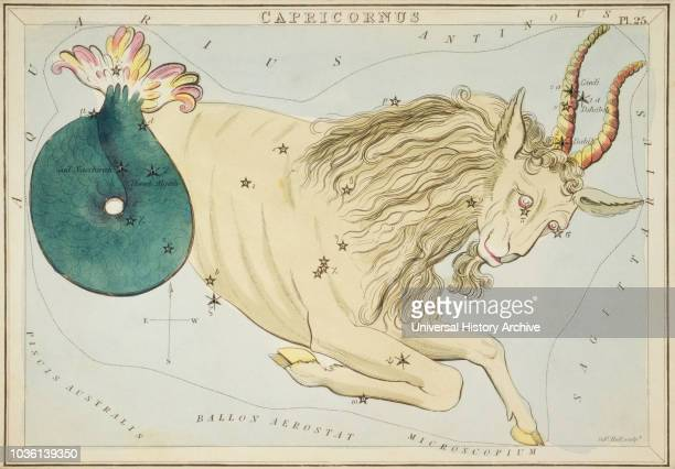 Capricornus Capricorn Card Number 25 from Urania's Mirror or A View of the Heavens one of a set of 32 astronomical star chart cards engraved by...