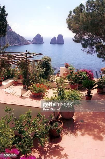 Capri/Italien Europa Felsen im Meer Bucht Terrasse Pflanzen Blumen Reise