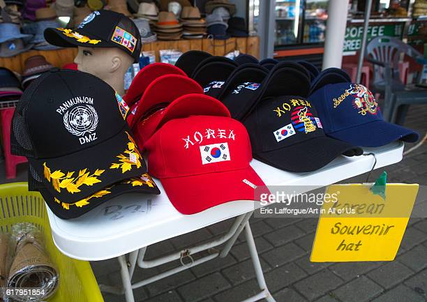 Caps sold at the dmz on the north and south korea border sudogwon paju South Korea on May 31 2016 in Paju South Korea