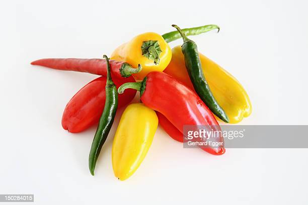 capsicum and chillies - gerhard egger stock pictures, royalty-free photos & images