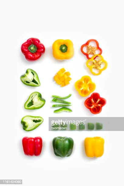 capsicum flat lay image. - yellow bell pepper stock pictures, royalty-free photos & images