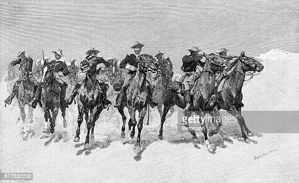 Capt Dodge's colored troops to the rescue Engraving by Frederic Remington Undated