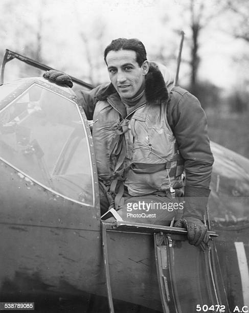 Capt Don S Gentile leaves the cockpit of his North American P51 Mustang after knocking down his 21st enemy plane 1944 Gentile is 23 years of age As...