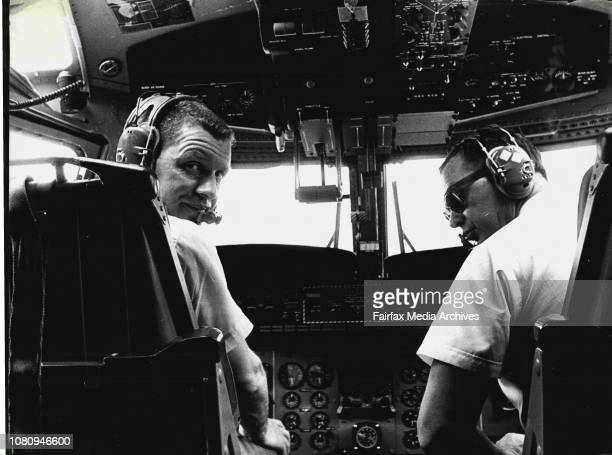 Capt George Northrop and 1st Officer Tony Shrive in the cockpit of the buffaloA DHC5 Buffalo Aircraft largest of the Turbine powered short takeof and...