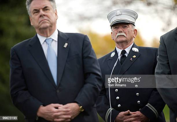 Capt John Gallagher FDNY right stands with Rep Peter King RNY during a news conference to urge passage of the James Zadroga 9/11 Health and...