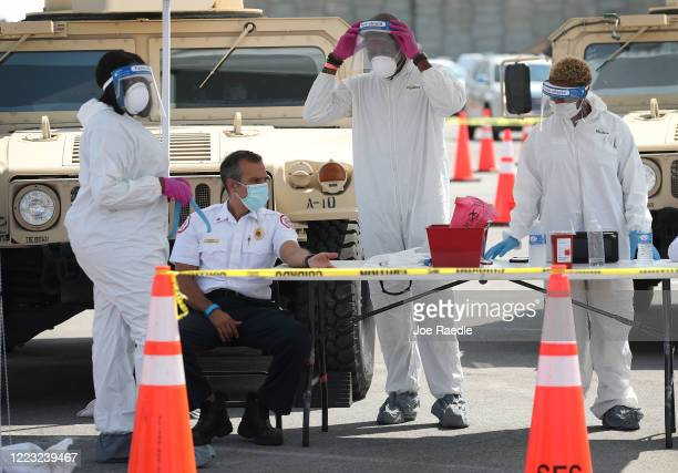 Capt Leonardo Hernandez from the City of Miami FireRescue waits for an antibodies test at the Hard Rock Stadium testing site on May 06 2020 in Miami...