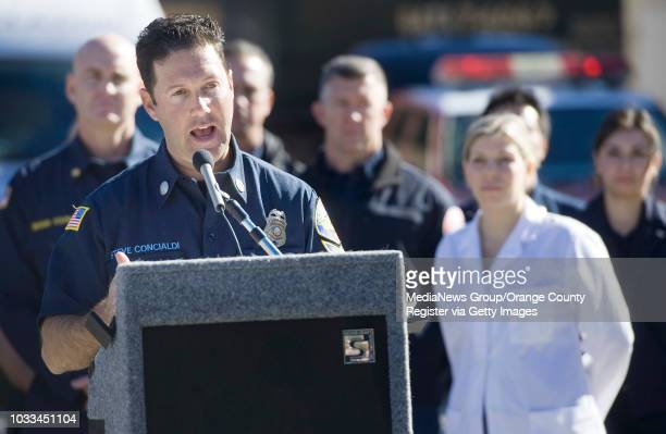 Capt. Steve Concialdi, along with other safety representatives, talks to the media about holiday safety at the training center in Irvine on Tuesday....