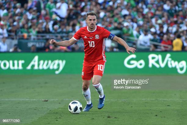 Captain Aaron Ramsey of Wales in action against Mexico during the first half of their friendly international soccer match at the Rose Bowl on May 28...