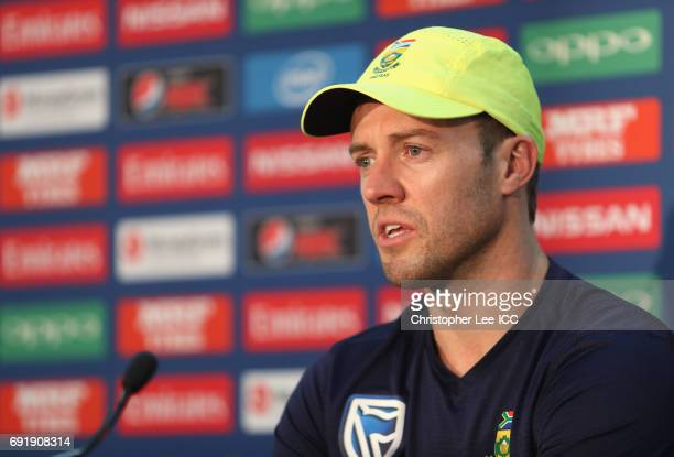 Captain AB De Villiers talks to the press after the match during the ICC Champions Trophy Group B match between Sri Lanka and South Africa at The Kia...