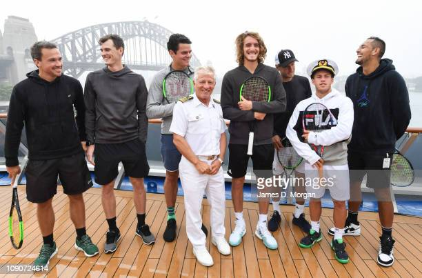 Captain Adriano Binacchi of cruise ship Carnival Spirit shares some fun with tennis players Bruno Soares Jamie Murray Milos Raonic Stefanos Tsitsipas...