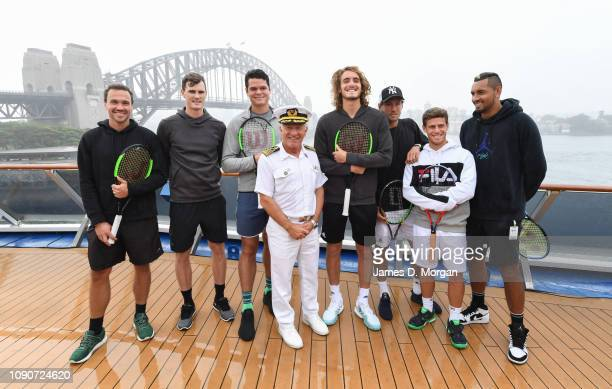 Captain Adriano Binacchi of cruise ship Carnival Spirit shares some fun with tennis players Bruno Soares, Jamie Murray, Milos Raonic, Stefanos...