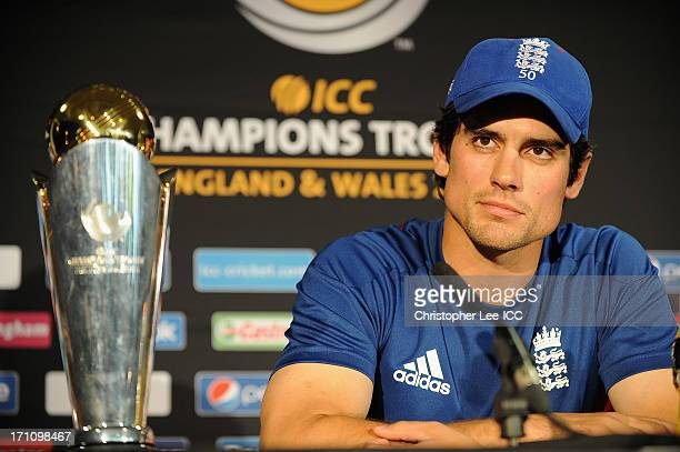 Captain Alastair Cook of England talks to the media prior to the ICC Champions Trophy final against India at Edgbaston on June 22 2013 in Birmingham...