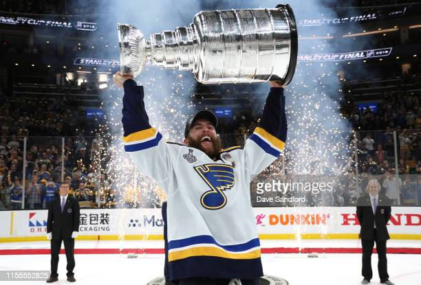 Captain Alex Pietrangelo of the St. Louis Blues hoists the Stanley Cup after the 2019 NHL Stanley Cup Final at TD Garden on June 12, 2019 in Boston,...