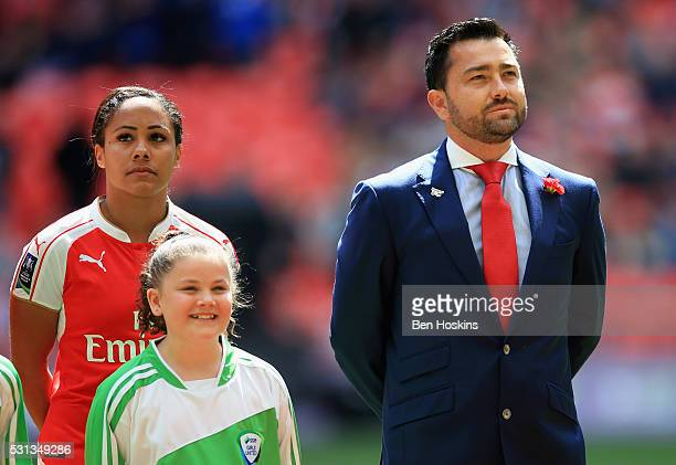 Captain Alex Scott of Arsenal and Pedro Martinez Losa manager of Arsenal Ladies look on prior to the SSE Women's FA Cup Final between Arsenal Ladies...