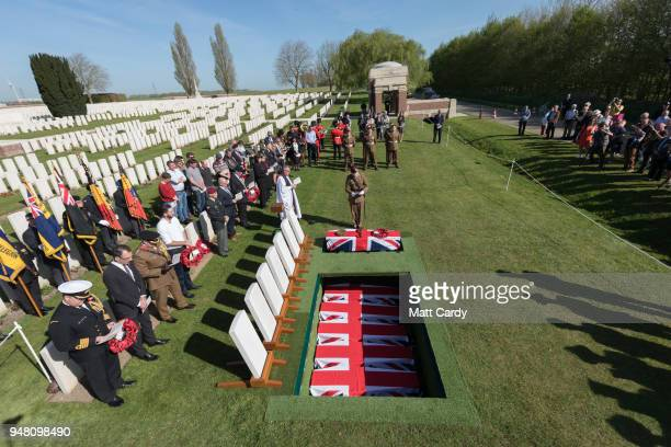 Captain Alexander Edmund from the the Royal Regiment of Fusiliers attends the reburial of Captain Henry John Innes Walker a New Zealand national who...