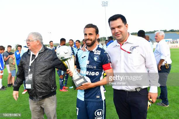 Captain Alexandre Bonnet of Le Havre after his side wins the preseason friendly match for the Trophee des Normands between Caen and Le Havre on July...