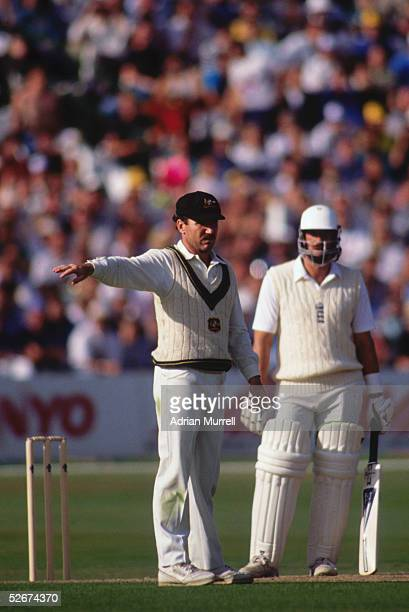Captain Allan Border of Australia organises his team during The Ashes Fifth Test Match between England and Australia held on August 10 1989 at Trent...