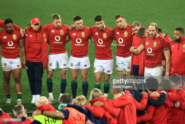 Captain Alun Wyn Jones of British & Irish Lions talks to his team following their defeat in the 3rd Test Match between South Africa and British &...