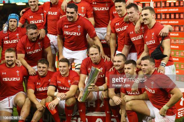 Captain Alun Wyn Jones of Wales and Welsh team celebrate with the trophy during the International Friendly match between Wales and South Africa on...
