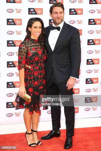 Captain Amanda Farrugia poses with partner Dan Repeti ahead of the 2018 AFW Awards at The Peninsula on March 27 2018 in Melbourne Australia