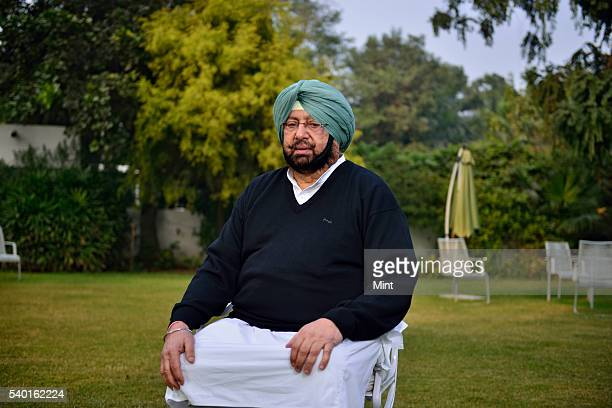 Captain Amarinder Singh Chief of Congress Punjab Unit poses during an exclusive interview on January 8 2016 in New Delhi India