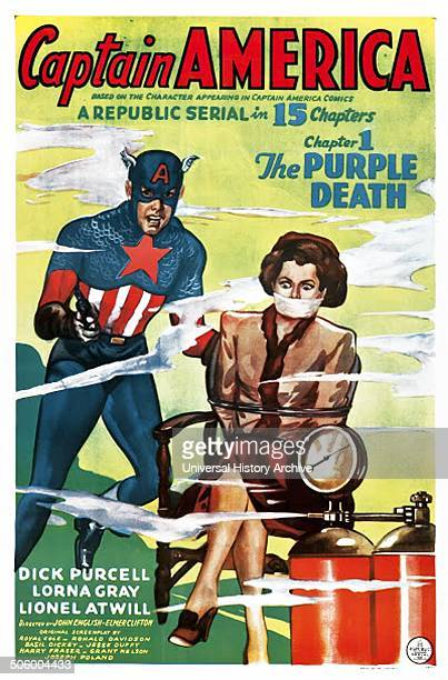 Captain America a 1944 Republic black and white serial film Chapter 1 The Purple Death with Dick Purcell Lorna Gray and Lionel Atwill