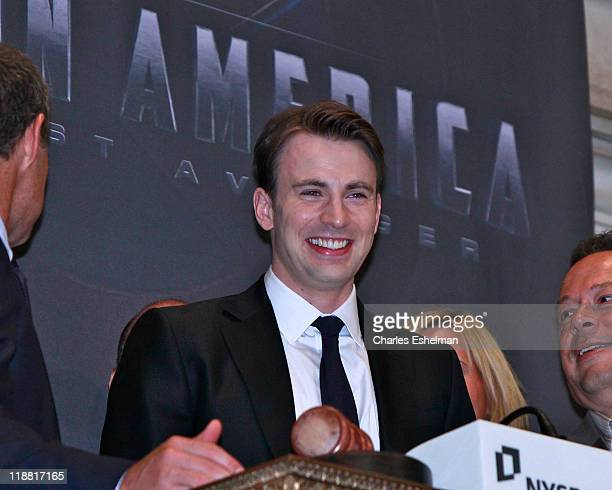 Captain America actor Chris Evans rings the opening bell at the New York Stock Exchange on July 11 2011 in New York City