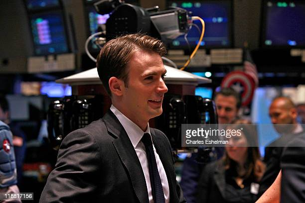Captain America actor Chris Evans tours the trading floor at the New York Stock Exchange on July 11 2011 in New York City