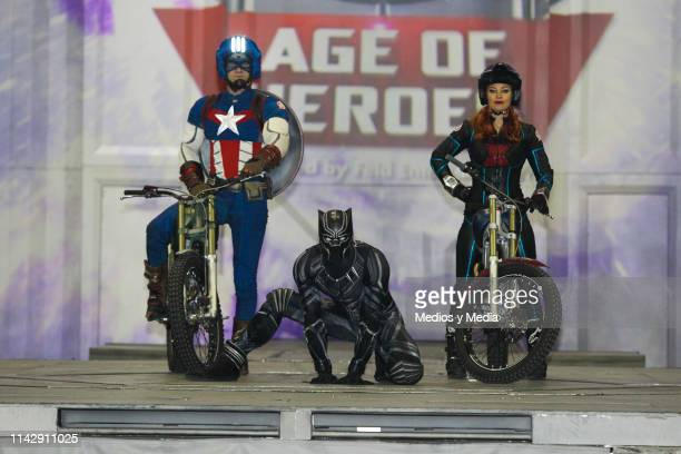 Captain America and Black Panther characters perform during a preview session of 'Marvel Universe Live' at Palacio de los Deportes on April 15 2019...