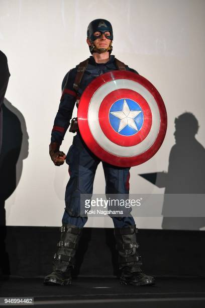 Captain America attends the fan event for 'Avengers Infinity War' Tokyo premiere at the TOHO Cinemas Hibiya on April 16 2018 in Tokyo Japan