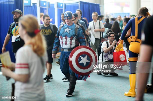 Captain America charactor walks at the San Diego Convention Center during Comic Con International on July 20 2017 in San Diego California Comic Con...