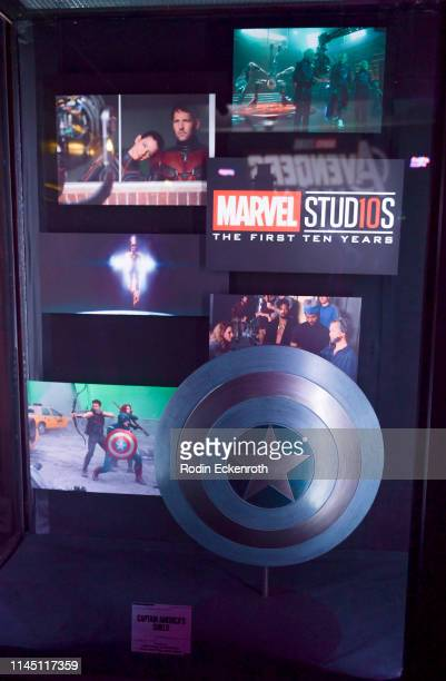 Captain America's Shield as seen in The Winter Soldier on display at the Marvel Studios's Avengers Endgame opening day marathon event at El Capitan...
