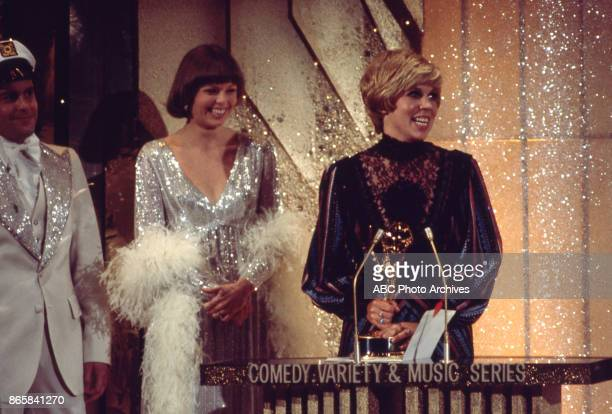 Captain and Tennille and Vicki Lawrence on stage at the 28th Annual Primetime Emmy Awards on May 17 1976 at The Shubert Theatre in Los Angeles...