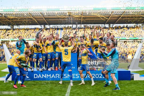 Captain Andreas Maxso of Brondby IF and Brondby IF celebrate as Danish Champions after the Danish 3F Superliga match between Brondby IF and FC...