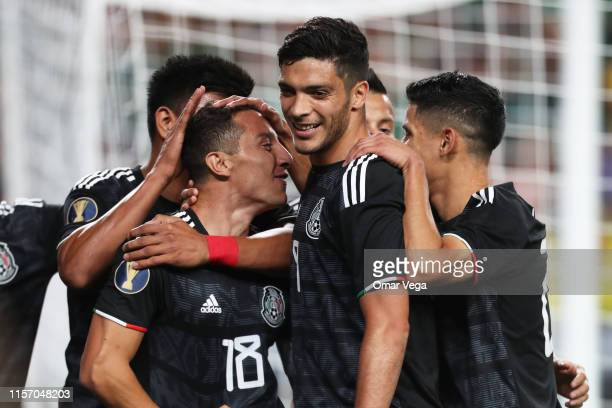Captain Andres Guardado and Raul Jimenez of Mexico celebrate the second goal during the Group A match between Mexico and Canada as part of the 2019...