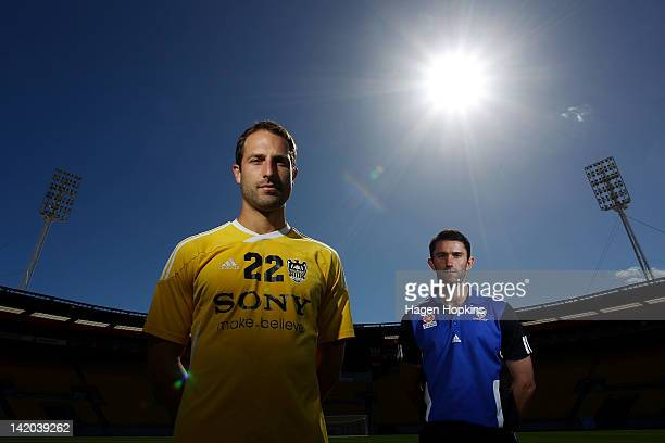 Captain Andrew Durante of the Phoenix and captain Terry McFlynn of Sydney FC pose ahead of tomorrow night's ALeague Elimination Final match between...