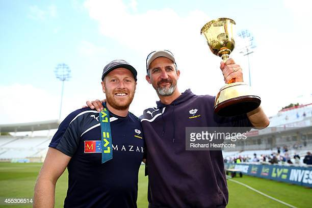 Captain Andrew Gale and coach Jason Gillespie pose with the trophy after Yorkshire beat Notts to secure the league during the fourth day of the LV...