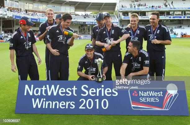 Captain Andrew Strauss of England hold the Trophy after winning the NatWest ODI Series between England and Australia at Lords on July 3 2010 in...