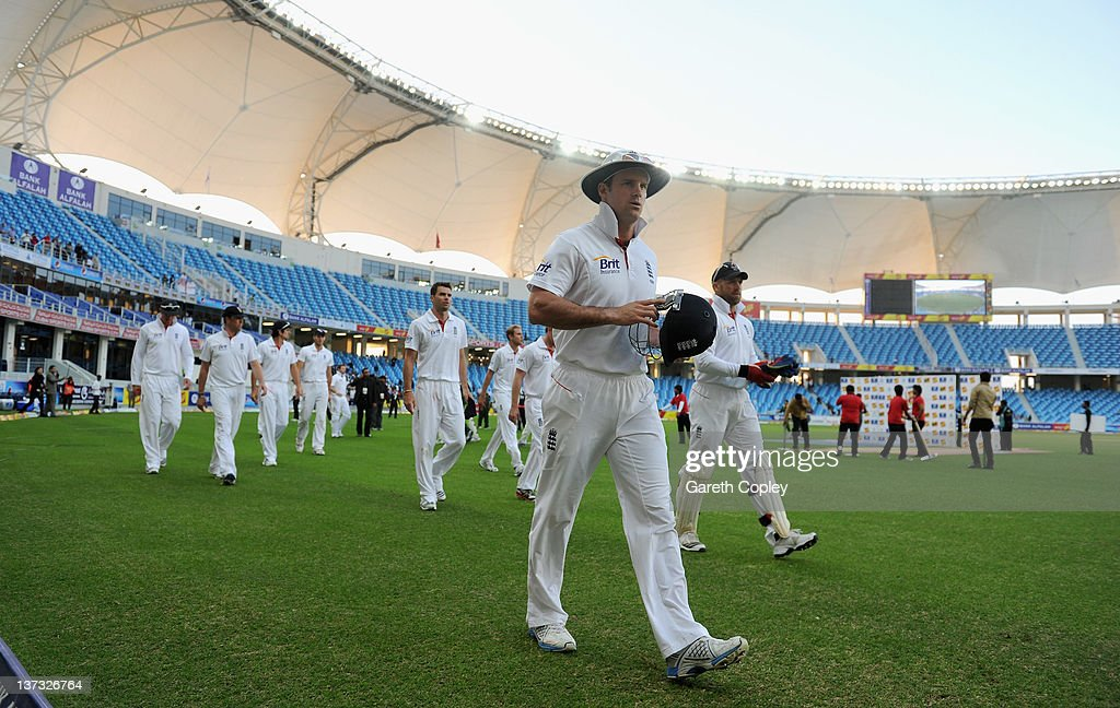 Captain Andrew Strauss of England leads his team from the field after defeat in the first Test match between Pakistan and England at The Dubai International Cricket Stadium on January 19, 2012 in Dubai, United Arab Emirates.