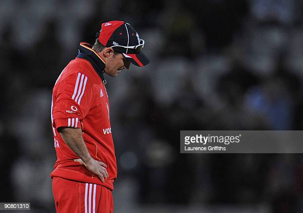 Captain Andrew Strauss of England shows his dissapointment after losing the 5th NatWest ODI match between England and Australia at Trent Bridge on...