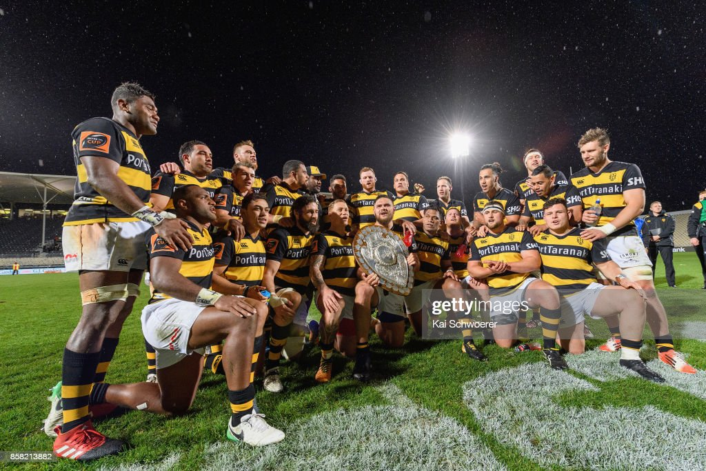 Captain Angus Ta'avao of Taranaki and his team mates pose with the Ranfurly Shield after the win in the round eight Mitre 10 Cup match between Canterbury and Taranaki at AMI Stadium on October 6, 2017 in Christchurch, New Zealand.