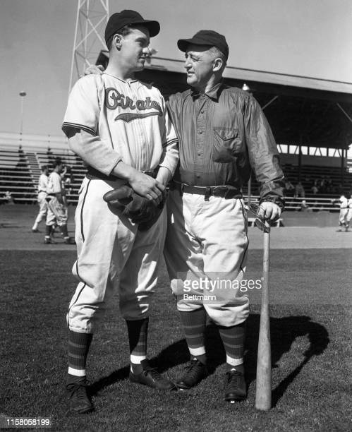 Captain Arky Vaughan and Manager Frankie Frisch shown at the Pittsburgh Pirates' spring training camp