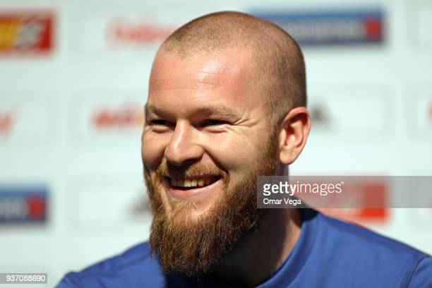Captain Aron Gunnarsson smiles during the Iceland press conference ahead of the FIFA friendly match against Mexico at Levi's Stadium on March 22 2018...