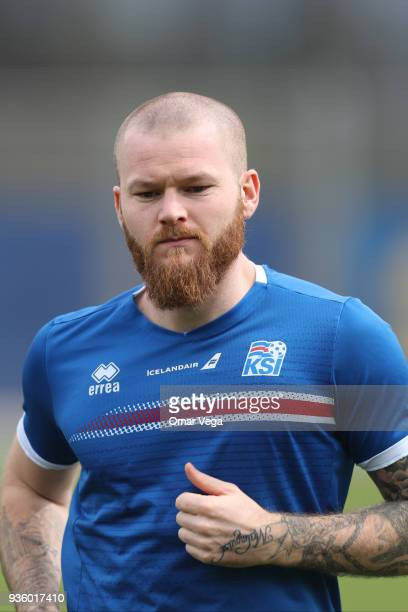 Captain Aron Gunnarsson warms up during the Iceland National Team training session at CEFCU Stadium formerly known as Spartan Stadium on March 21...