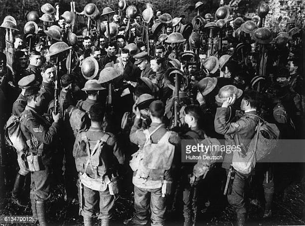 Captain AWL Paget MC and 2nd Lieutenant PRJ Barry MC of the 1st Irish Guards read out the Armistice that ended the First World War Germany signed the...